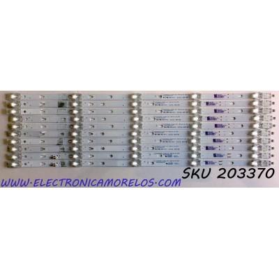 KIT DE LED'S PARA TV WESTINGHOUSE / ONN (10 PIEZAS) / NUMERO DE PARTE LED55D05A-ZC29AG-02 / 30355005214 / 30355005215 / 55000M0L / PANEL LC546PU2L / MODELOS WR55UT4009 / 100012586