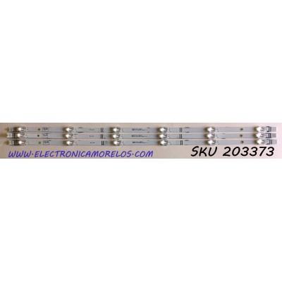 KIT DE LED'S PARA TV HISENSE (3 PIEZAS) / NUMERO DE PARTE 1214974 / LB4004A V0 / LB4004A / HD400V1F31-TXL1K1 / 201906701 / PANEL HD400VF31-TXL1/K1/S0/GM/ROH / MODELO 40H4030F1