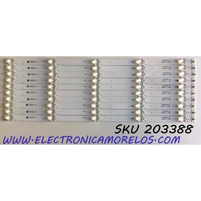 KIT DE LED'S PARA TV ELEMENT (10 PIEZAS) / NUMERO DE PARTE 3P55TA004-A2 / 4655TA001 / 112600142-YC00 / 17AD530CD18081 / MODELOS E4STA5517 / E4STA5517 H8L1M