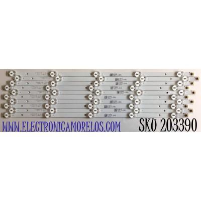 """KIT DE LED'S PARA TV ELEMENT (10 PIEZAS) / NUMERO DE PARTE JL.D48051235-111AS-M / A12G630 / N1706505 / T101  21005948 / PANEL'S LSC480HN08-802 / MODELO 48"""""""