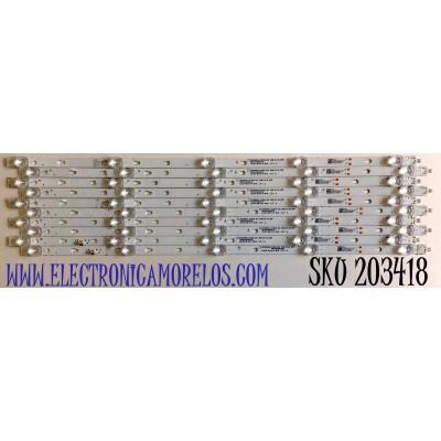 KIT DE LED'S PARA TV ONN / WESTINGHOUSE / JVC (10 PIEZAS) / NUMERO DE PARTE 30355005214C / 30355005215C / LED55D05A-ZC29AG-02C / LED55D05B-ZC29AG-02C / 5500M005 / 5500M006 / PANEL T550QVN07.2 / LC550EQC-SMA4 / MODELOS 100012586 / WR55UT4009 / LT-55MAW595