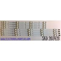 KIT DE LED'S PARA TV TCL (8 PIEZAS) NUMERO DE PARTE 49D2900 / TCL_49D2900_5X4_3030_LX20180403 / TCL_49D2900_4X4_3030_LX20180403 / YHA-4C-LB4905-YH / PANEL LVU485ND1L / MODELO 50S431