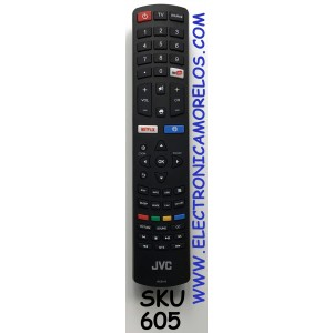 CONTROL REMOTO PARA SMART TV JVC / NUMERO DE PARTE RC311S / 06-531W52-TY01X / 06-532W54-JVC01XS / DF-201812121-Y / DH1807184183 / DF-S52D / MODELOS 43D1680 / 43D1850 / 43D2100 / 49D1850 / 49S6600C / 49UHD18 / RLED-L49A6004K / RLEDL50D2024K